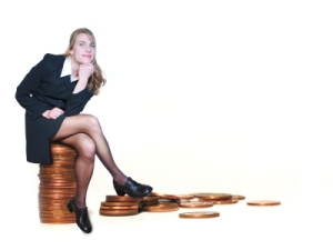 Woman sitting on coins