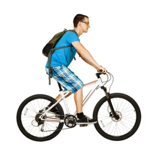 cyclist isolated on white