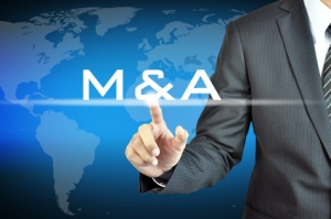 Businessman hand touching M & A - merger & acquisition concept